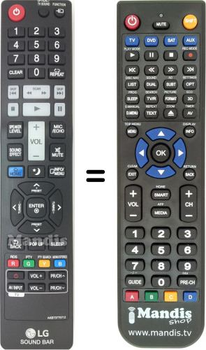Replacement remote control for AKB73775712